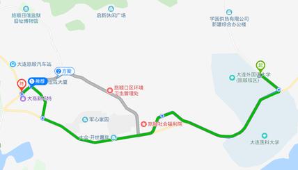 中国留学 大連外国語大学付近のある銀行の地図 口座開設