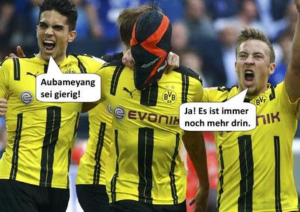 Aubameyangs Masken-Jubel beim Spiel Schalke-Dortmund am 01.04.2017