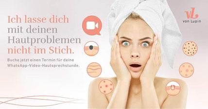 Bild von junger Frau mit erschrockenem Gesicht und Hautproblemen, Unreine Haut, trockene Haut, Falten, Rötungen