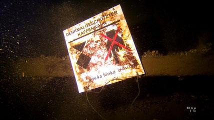 Hinweistafel vom Kaffenkahn e.V. am 33er Dornbuschwrack / Barnim Fun Diver