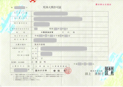 NPO法人 ヒーリング 散骨 火葬証明書