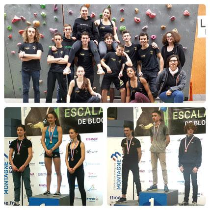 L'équipe jeune et les podiums Cadet F (gauche) et Minime G (droite)