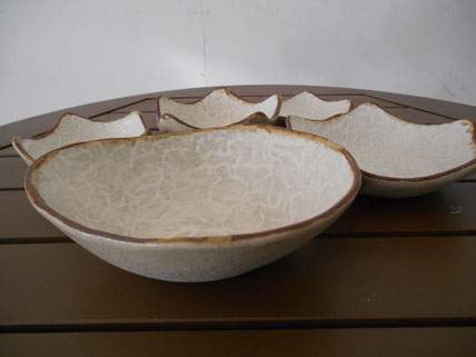 和紙柄模様のとんすい鉢、星形皿