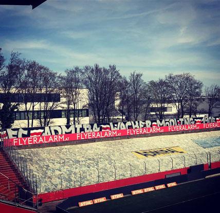 Der Admira Fanclub Gate 2 Admira sprayte einen gewaltigen Schriftzug auf die Wand hinter dem Tor der Nordseite im Südstadtstadion