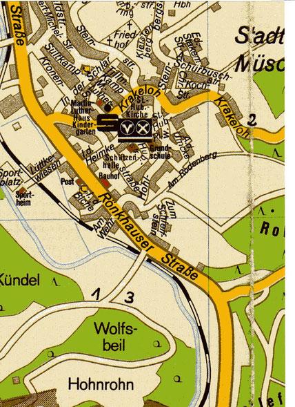 Karte mit Standorten Vogelstange (1. Kündel; 2. Heidknapp; 3. Wolfsbeil/Schulte-Weber)
