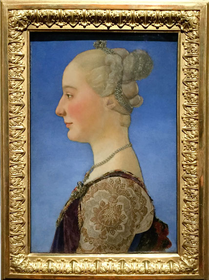 Piero Pollaiuolo, Bildnis einer Frau im Profil, um 1475/80, Holz 54,5 x 34,8 cm, Florenz, Galleria degli Uffizi