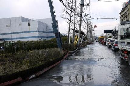 東北震災時、液状化した浦安市周辺