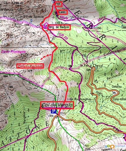 carte randonnée des bergeries de radule en partant du col de vergio