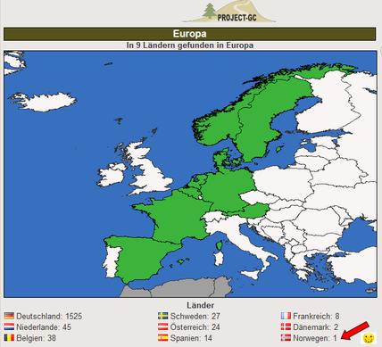 So sieht nun unsere Länder-Statistik auf Geocaching.com aus