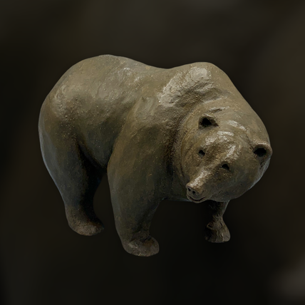 sculpture, grizzly, ours, terre, clay, art animalier, Sophie Gérault