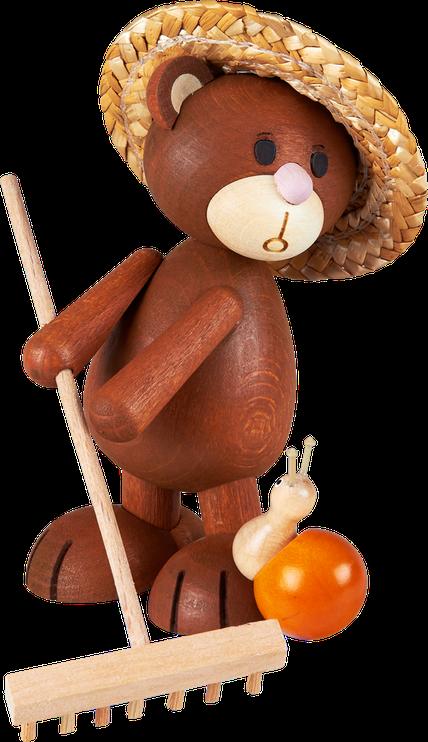 Kunibärt der Gärtnerer mit Rechen, Schnecke Emmi und Sonnenhut, Bär, Teddy, Teddybär, Holz
