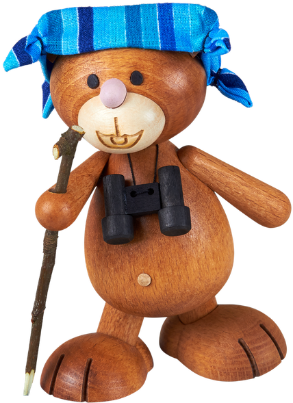 Kunibärt der Wanderer mit Wanderstock, Fernglas und Schwitztuch, Bär, Teddy, Teddybär, Holz