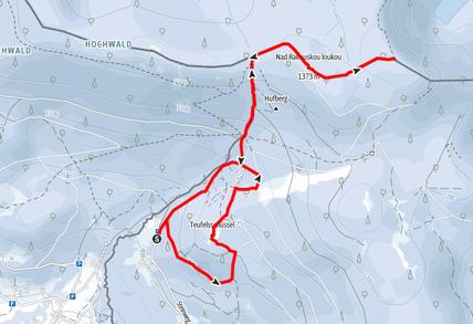 Routenverlauf von Oberschwarzenberg auf den Tschechischen Plöckenstein und die Teufelsschüssel