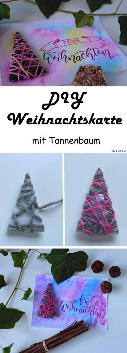 DIY Anleitung: Mach deine Weihnachtskarte selber und verschenke Freude zur Adventszeit! Diese einfache Weihnachtskarte hat einen mit Wolle umwickelten Tannenbaum als Highlight. #Weihnachten #Weihnachtskarte #DIY #Karte #selbermachen