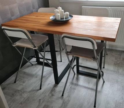 pied de table sur-mesure pour mange debout en métal thermolaqué coloris noir mat