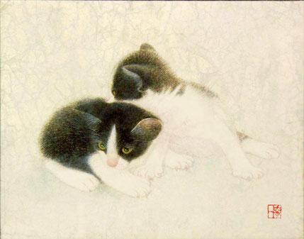 「肩で」 日本画 雲肌麻紙、薄美濃紙、箔 F0