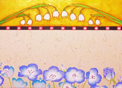 「私の花」 Nemophila&snowflake」日本画 F4