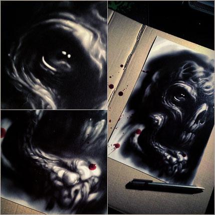Alien Schädel Monster Kunstdruck Dark Art