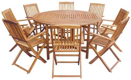 tavolo sedie +legno + acacia +giardino +8 +rotondo +pieghevole +spazio