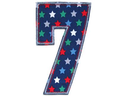 Bild: Geburtstagszahl 7, Zahlen Applikation Aufbügler als Geschenk zum 7. Geburtstag