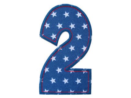 Bild: Geburtstagszahl Zahl 2 Aufbügler, Geschenk zum 2. Geburtstag