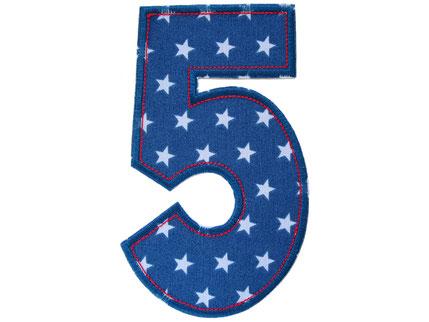 Bild: Geburtstagszahl 5, Zahlen Applikation Aufbügler als Geschenk zum 5. Geburtstag