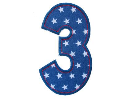 Bild: Geburtstagszahl Zahl 3, Geschenk Aufbügler zum Geburtstag