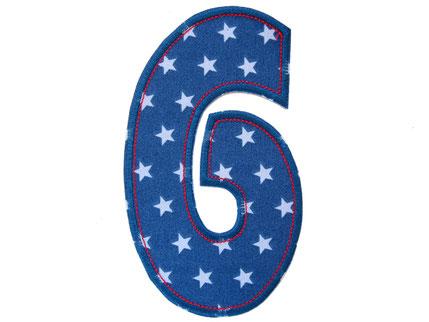 Bild: Geburtstagszahl 6, Zahlen Applikation Aufbügler als Geschenk zum 6. Geburtstag