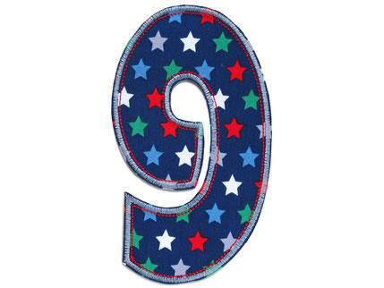 Bild: Geburtstagszahl 9, Zahlen Applikation Aufbügler als Geschenk zum 9. Geburtstag