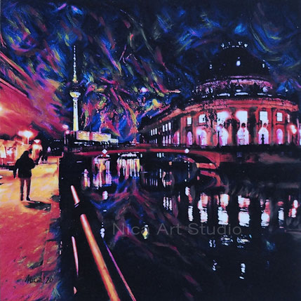 Das Bode-Museum, 2020, 20 x 20 cm, Fotografie mit Ölfarbe, Auftragsarbeit für eine Galeristin