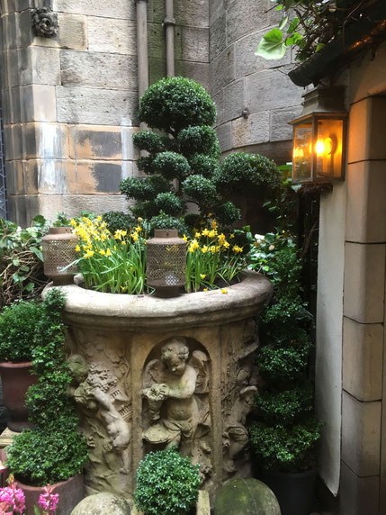 "The beautiful courtyard at the ""Witchery"""