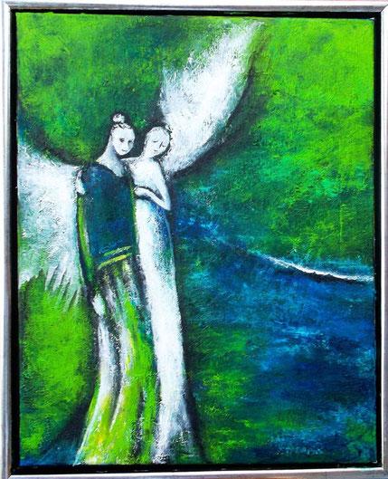 Guardien Angel- Mischtechnik auf Leinwand - 40 x 50 (gerahmt)