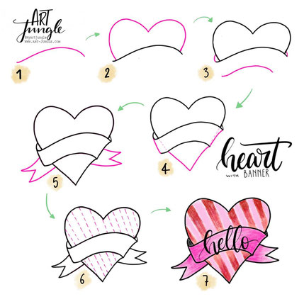 Heart banner how to draw