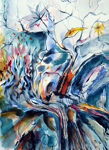 Der Märchenbaum der Welt. Ein Aquarell von Antje Püpke. Entstanden live zu einer Veranstaltung mit Liedern, Märchen und Geshichten aus aller Welt.