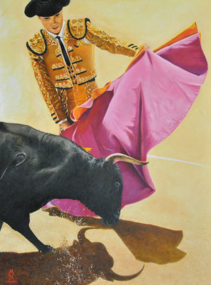 tableau-corrida-moderne-peinture-arles-bautista-corrida-bullfighter-toreador