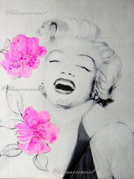 2011 Peinture à l'huile sur toile de coton 38/46 cm, Marilyn Monroe d'après photo et d'après l'auteur