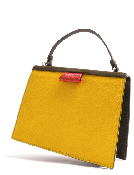 OSTWALD Bags . TURTLE EDGE . Tote . Leather . Cow Fur . multicolor yellow . olive . red . Shop Online