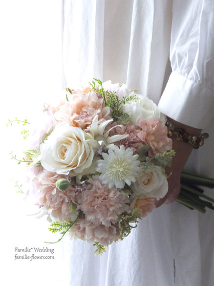 アンティークピンクの造花ウェディングブーケ