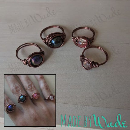 These chic rings come in antique copper or black and can be made with almost any beaded stone. Most popular is the hematite.