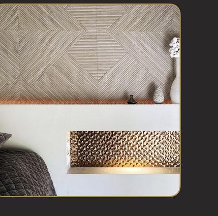 Tête de lit avec carrelage Porcelanosa effet bois et cuivre texturé