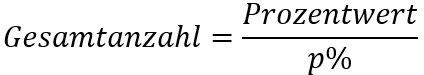 Formel für die Berechnung der Anzahl mithilfe des Prozentwertes und des Prozentsatzes