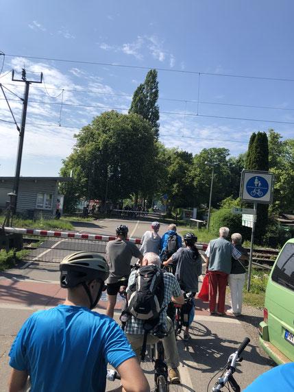 der übliche Radler-Stau am Bahnübergang bei Lindau