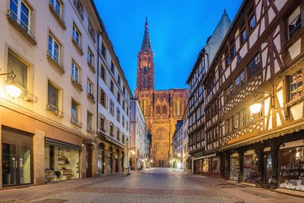 Cathedral of Our Lady (Notre Dame) of Strasbourg at night in Strasbourg, Alsace, France. Copyright Prasit Rodphan