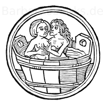 """Badebild aus den Hans Schönspergerschen Augsburger Drucken des """"Teutschen Kalenders"""" aus den Jahren 1487 - 1495."""