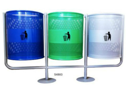 54883. Basurero Basculante Triple Gris, Verde, Azul. Medidas: 1.52 X 85 X 45 cm