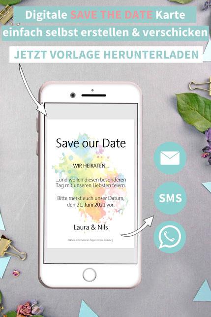 Festivalhochzeit, Sommerhochzeit, bunt, Save the date, digitale, Handy, selber machen, Vorlage, Whatsapp, elektronische, Hochzeit ankündigen, Hochzeitskarte, Druckvorlage, basteln