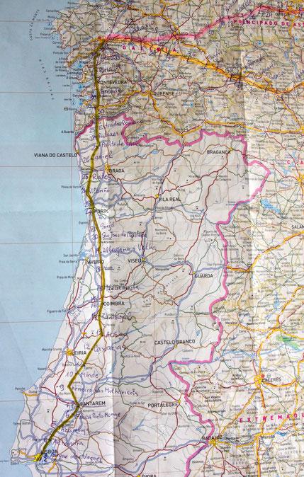 Portugališkojo Šv. Jokūbo piligrimų kelio žemėlapis