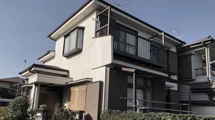 さいたま市岩槻区の戸建住宅、外壁塗装・屋根塗装工事前の写真