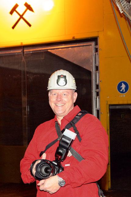 Bei einer Befahrung des geplanten Atommüll-Endlagers von Gorleben in 840 m Tiefe (Juli 2012)