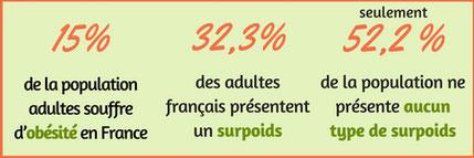 pourcentage d'adultes souffrant d'obésité et de surpoids en France face à la population ne présentant aucun surpoids